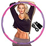 DUTISON Hoola Hoop for Adults, Weighted Hoola Hoop for Exercise-1KG, 8 Section Detachable Design-Professional Soft Fitness Hoola Hoop with Skipping Rope- Pink and Purple