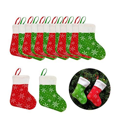 Takefuns - 12 piccole calze di Natale, per appendere alla parete, per decorare il camino di Natale