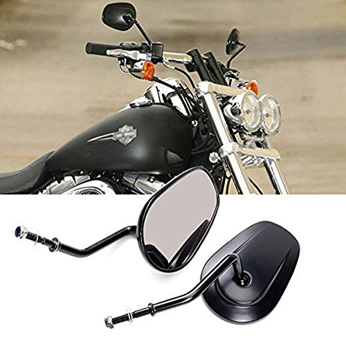 Htt Moto Noir vue arri/ère gauche droite miroirs avec tige LED sadapter pour Harley Davidson Flstc Fxdb Dyna Fxdf Flstf