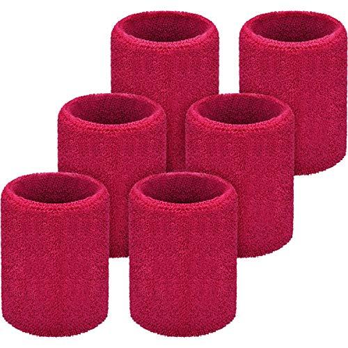 NHGF Paquete de 6 muñequeras Deportivas, muñequeras absorbentes para fútbol, Baloncesto, Correr Deportes atléticos(Rose Red)