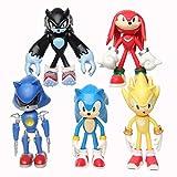 MIAOGOU Sonic Juguete 12cm 5pcs / Set Sonic Figure Toys Doll Anime Cartoon Sonic Tails Knuckles Shadow Amy Rose PVC Acción Modelo De Juguete para Niños Regalo