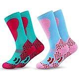 2 Paar Kinder Skisocken | Kniestrümpfe für Jungen und Mädchen | Warme Kinder Winter Thermo Socken Größen 26-34 | Winter Sportsocken für Kinder (Blau-Grün 1/2 Paar)