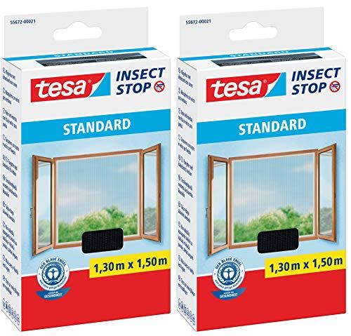 tesa® Insect Stop STANDARD Fliegengitter für Fenster - Insektenschutz zuschneidbar - Mückenschutz ohne Bohren - Fliegen Netz anthrazit, 130 cm x 150 cm (2)