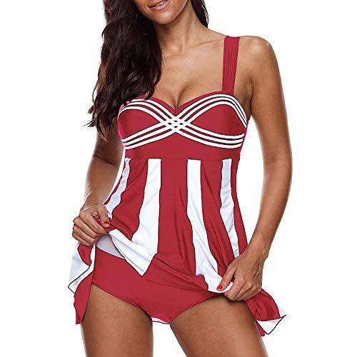 Jmsc Costume da Bagno Tankini Donna Gonna Swimsuit Halter Costume da Bagno Taglie Forti Donna Sexy Swimsuit Pantaloncino Mare Spiaggia Piscina Party Vacanza 4XL
