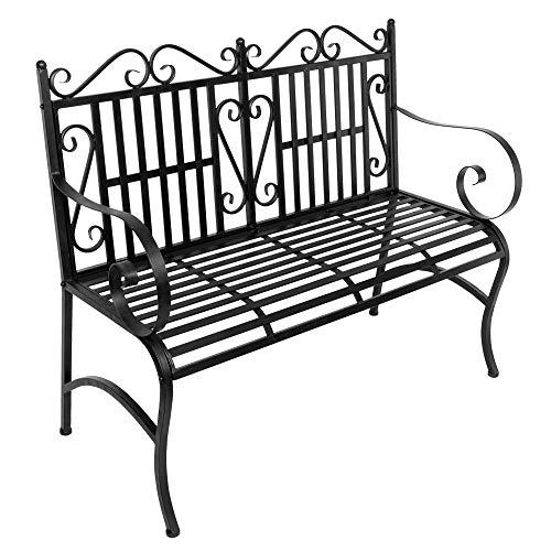 Zipperl Foldable Outdoor Patio Chair Black Garden Porch Wrought Iron Bench Loveseats Patio Park Yard Furniture