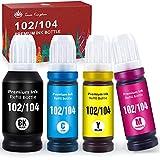 Toner Kingdom 102 104 Tinta Compatible para Epson 102 o 104 Tinta, para Epson EcoTank ET-2700 ET-2710 ET-2720 ET-2711 ET-2712 ET-2714 ET-2715 ET-2726 ET-4700 ET-2750 ET-3700 ET -3750 ET-4750 ET-15000