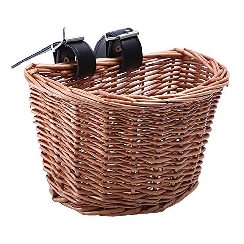 Rattan Bike Basket Bicycle Front Basket Multifunction Removable Waterproof Bike Handlebar Basket Small for Home