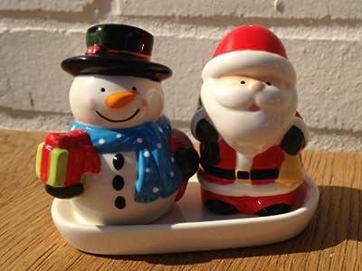Christmas Tableware - Salt & Pepper Pots - Santa & Snowman (MLSP-SASM)