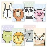 kizibi® Kinderzimmer Poster 8er Spar Set DIN A4 Comic Tiere, Poster für Kinderzimmer und Babyzimmer, Kinderposter Tiere für Jungen und Mädchen, Premium Wandposter: Hase Bär Panda Frosch Löwe Katze