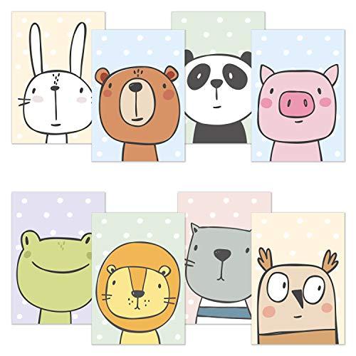 Kinderzimmer Poster 8er Spar Set DIN A4 Comic Tiere, Poster für Kinderzimmer und Babyzimmer, Kinderposter Tiere für Jungen und Mädchen, Premium Wandposter: Hase Bär Panda Frosch Löwe Katze Eule