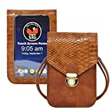 ALL STAR INNOVATIONS Touch Screen Purse by Lori Greiner Fits Most Smartphones - Stylish Crossbody with Shoulder Strap -RFID Keeps Cash, Credit Cards, Phone Screens Safe- Brown Snake