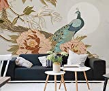 Papel Pintado 3D Línea De Pavo Real De Flor De Peonía De Estilo Chino 3D Dormitorio Decorativos Murales Moderna Diseno 250x175cm