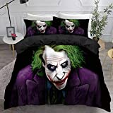 FRECASA The Joker Duvet Cover Set for Teenagers 3D Printed Bed Set Movie Clown Bedding 3 Piece for Adults Comforter Cover with 2 Pillow Shams
