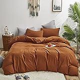 Luxlovery Pumpkin Color Comforter Set King Rust Bedding Comforter Set Burnt Orange Soft Breathable Blanket Quilts Cotton Soft Breathable Terracotta Comforter Set with 2 Pillowcases