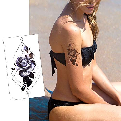 Yesallwasタトゥーシール薔薇黒かわいいレースデザイン女性6+1枚セット赤蓮花リアルタトゥーステッカーボディーシールメンズレディース刺青シール防水腕、足、体、胸、肩、背中に簡単貼るTATOO
