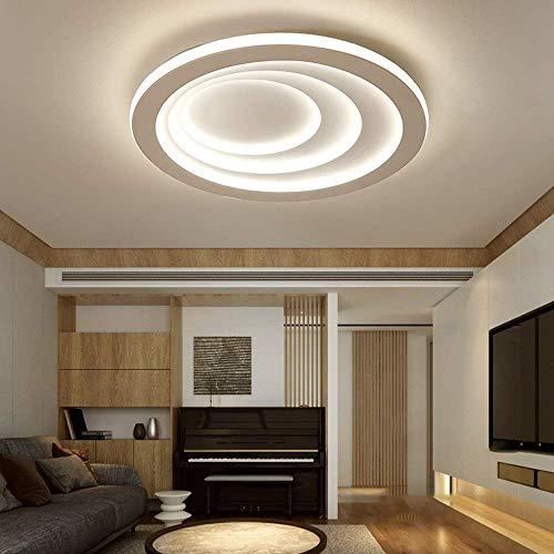 N/Z Equipo para el hogar Lámpara de Techo para Sala de Estar Moderna Lámpara LED Redonda Ajustable con Control Remoto Círculo Retro Luz Blanca cálida (Color: Luz Blanca)