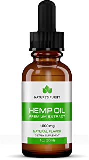 Premium Organic Hemp Oil by Nature's Purity - New Product - 1000mg Extra Strength - 100% Natural, Reduces Anxiety, Inflammation, Joint Pain, Stress