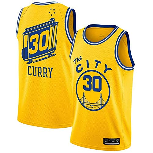 Zxwzzz Los Hombres De Camiseta De La NBA Golden State Warriors No.30 Curry Jerseys Transpirable Bordado Baloncesto Swingman Jersey (Color : Yellow C, Size : XX-Large)