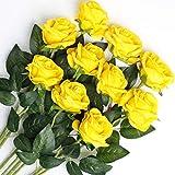 Veryhome 10 pièces Artificielle Roses Fleurs De Soie Faux Bouquets Floraux pour La Décoration De Mariage Maison Décoration De Fête d'anniversaire Jardin Décor (Jaune - Roses épanouies)