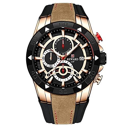 MQSATXHLOEV Reloj Deportivo de recompensa Vendido Silicona Cinturón de Silicona Tiempo a Prueba de Agua Reloj de Hombre Tres Ojos Seis Agujas Reloj de los Hombres