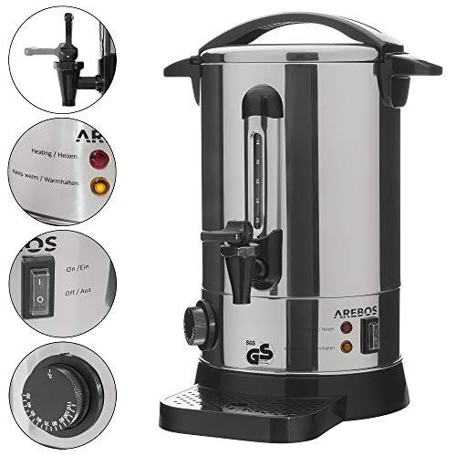 AREBOS Glühweinkocher Elektrisch/aus Edelstahl/mit Auslasshahn, Thermostat und Überhitzungsschutz/Ideal als Heisswasserspender oder Glühweintopf/Temperatureinstellung von 30-110°C / 7 L