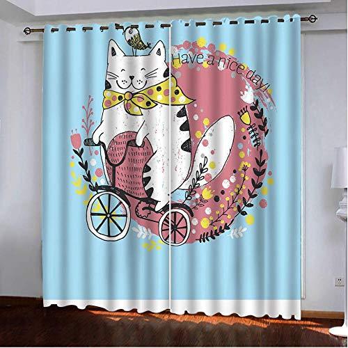 JKCloth Cortinas Salón Opacas Modernas Térmicas Aislante Decorativas con Ojales - Gato Cortina Chico Azul - Cortinas para Salón Habitación Dormitorio Infantil 2 Paneles 140x250cm