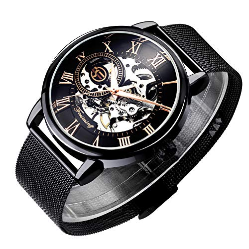 Bestn Men's Hand-Wind Mechanical Wrist Watch Skeleton Design Stainless Steel Band Roman Numeral