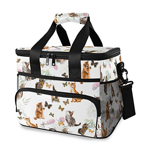 Rulyy Sac isotherme pour chats, papillons, fleurs, sac à déjeuner pliable étanche étanche 15 l pour pique-nique, voyage, camping