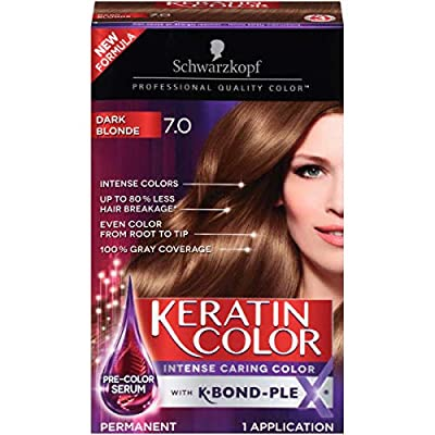 Schwarzkopf Keratin color permanent hair color cream, 7.0 dark blonde