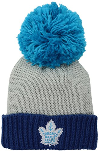 Reebok NHL Edmonton Oilers Damen SP17 Neon Logo Bündchen Strick Pom Kopfbedeckung Grau Einheitsgröße