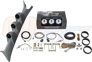 GlowShift Diesel Gauge Package for 1999-2007 Ford Super Duty F-250 F-350 6.0L 7.3L Power Stroke - White 7 Color 60 PSI Boost, 2400 F Pyrometer EGT & Transmission Temp Gauges - Gray Triple Pillar Pod