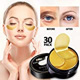 Vanelc 24k Gold Eye Mask-with Collagen Under Eye Patches For Moisturizing & Reducing Dark Circles Puffiness Wrinkles, Gel Pads 30 Pairs