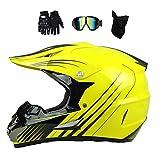 MRDEAR Motocross Helm Set (Brille/Handschuhe/Maske, 4Pcs) Fullface Helm MTB Kinder, Motorrad...