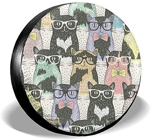 Lewiuzr Divertidos Gatos Lindos, Colorido, portátil, poliéster, Rueda de Repuesto, Cubierta de neumático, Ajuste Universal
