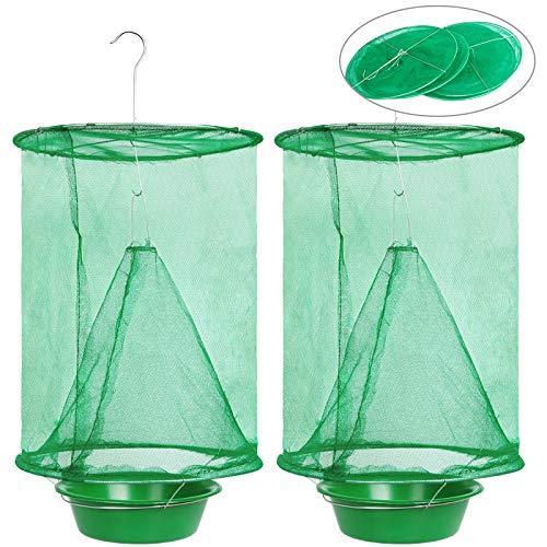 FEBCAT 2 Piezas Trampa para Moscas Colgante, Atrapa Drosophila Reutilizable con Comedero, Atrapa Insectos para Granjas, Parques, Jardines, Pastos, Caza Moscas Plegable
