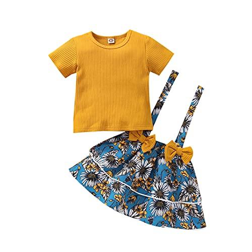 Alunsito Bebé Bebé Niña Verano Suspender Falda Conjunto Volantes Manga Corta Mameluco Superior Impresión Floral Bowknot Suspender Falda, Amarillo, 2-3 años