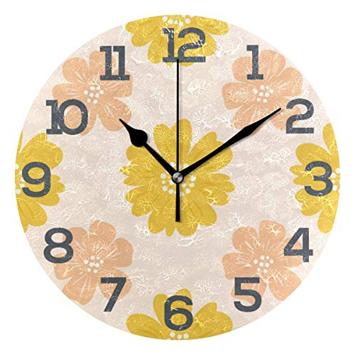 Night Ing Reloj de Escritorio de Reloj de Pared Redondo cálido con Estampado Floral Amarillo Naranja Decorativo para la Escuela de la Oficina en casa
