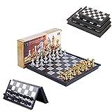 J&Z Combinación de ajedrez 3 tamaños de Placa Plegable Piezas de ajedrez magnético de Oro y Plata/Blanco y Negro para los Amantes del ajedrez y Principiantes,Gold and Silver,36 * 36cm
