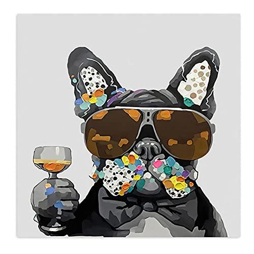 YCHND Bulldog Perro Copa de Vino Cuadro en Lienzo Cuadrosde Animales Impresiones abstractas imágenes artísticas Mural Sala de Estar decoración de la Pared del hogar Cuadro 50x50cm sin Marco