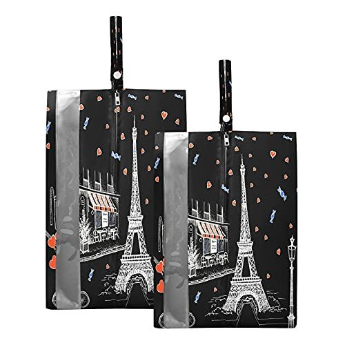 Hunihuni Bolsa de viaje para zapatos de la Torre Eiffel de París con corazón, impermeable, portátil, organizador de zapatos con cremallera, 2 unidades
