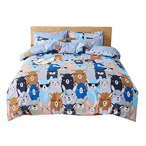Happy Alpaca Family Animal Duvet Cover Sets, Blue Bedding Set Multicolor Cartoons Polyester Duvet Cover For Kids Girl Daughter Boy Children + Pillowcase 50x75 cm (Double 200 x 200 cm)