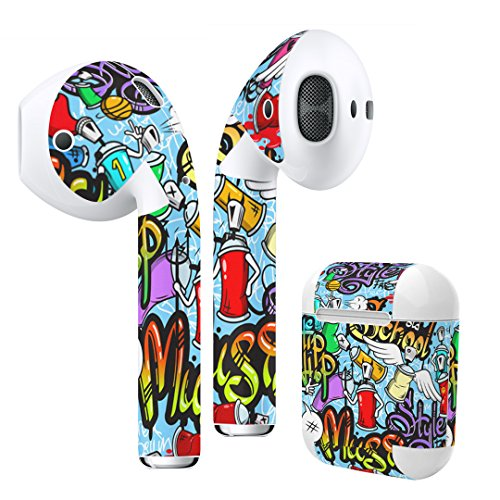 Airpods Skin + Case Skin Sticker Skin Decal for airpod Compatible with AirPods 1st(2016) and 2nd(2019) Stylish Covers for Protection & Customization 008487 ColorfulPaintInkPunk
