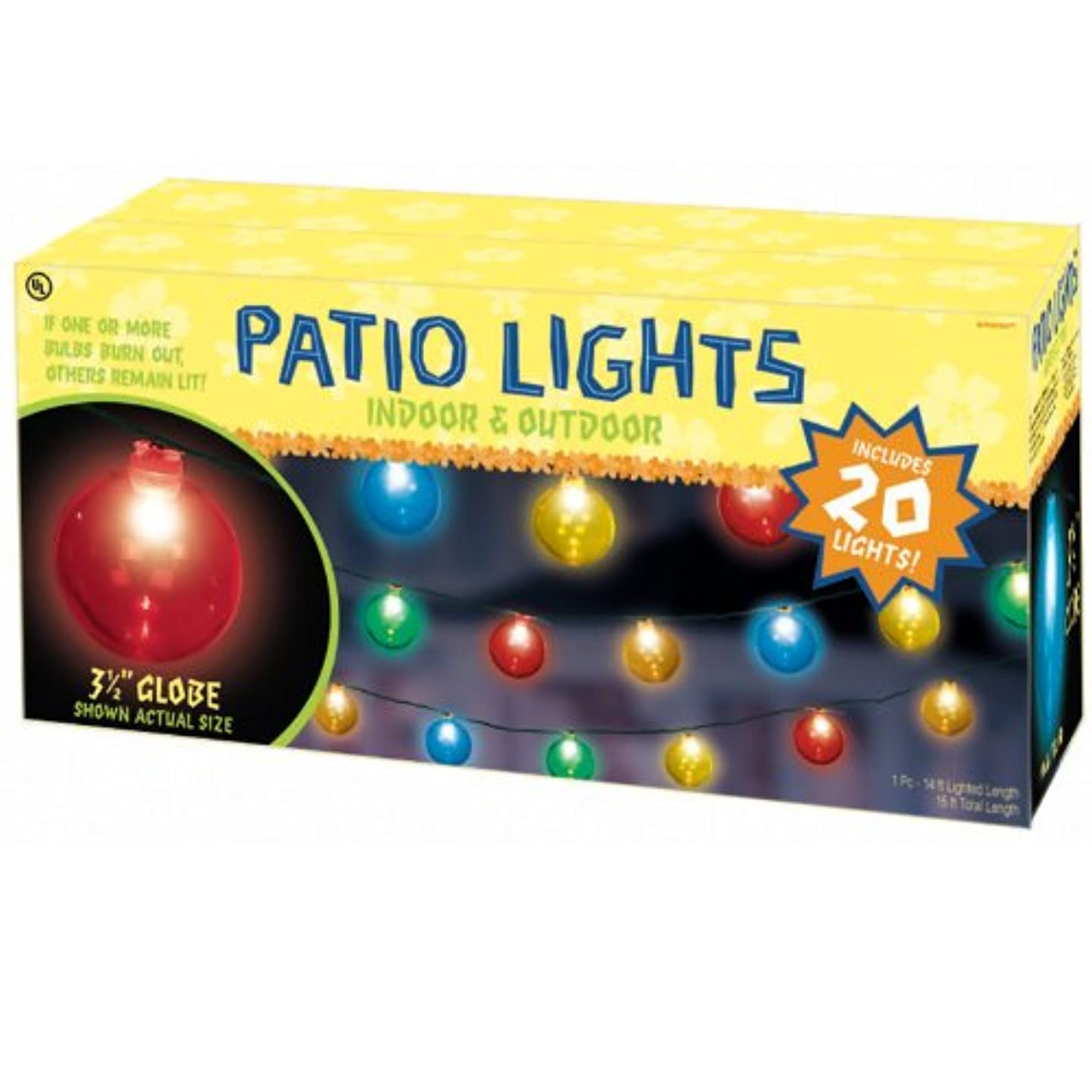 Grasslands Road Multi Color Round 3-1/2-Inch Bulb Patio Light, Set of 20