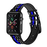 CA0632 Thin Blue Line USA Leather & Silicone Smart Watch Band Strap for Apple Watch iWatch Size 38mm/40mm