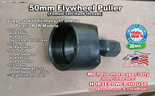 Made in USA - 50mm Left Hand Special Puller To Remove Flywheel @ 2011 and up - Polaris UTV SXS Equivalent for Tool # PA-49316 RZR XP900 Sportsman Hawkeye 325 M1400 Gas Ranger 900 All Options 570 90 XP1000 ETX ACE 325 more -  Horsepower-House, 48PMH