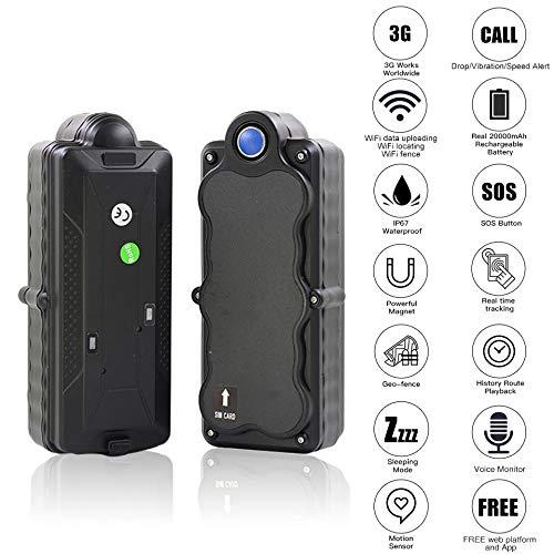 Best Price HUAXING 3G GPS Tracker Car, Waterproof Portable 5000Mah Recharge Battery WiFi SD Data Log...