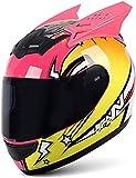 WWJ Casco Moto Donna Ragazza Casco Orecchio Gatto Casco Moto Integrale Certificato ECE caschi apribili Quattro Stagioni con Visiera Parasole per Moto da Strada da Corsa Motocross 1, XXL = (63 ~