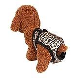 Gobesty Culotte hygiénique pour chiot, en coton doux, réutilisable, hygiénique et lavable pour chien femelle, taille moyenne pour incontinence et longs voyages (rouge léopard, M)