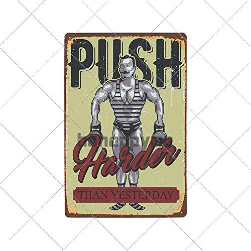 muzi928 Hojalata de alcantarilla Retro Gym Cartel de Chapa Fitness Ejercicio Placa Vintage Sport Metal Poster Pub Bar Gimnasio Pared Placa Decorativa Decoración para el hogar 20326040