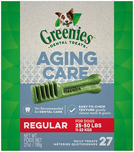 GREENIES Aging Care Regular Natural Dog Dental Care Chews Oral Health Dog Treats, 27 oz. Pack (27 Treats)